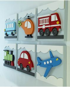 Set of 6 Transportation Wood Kids Wall Decor, Transportation for Nursery and Kids Rooms, Car Train Helicopter Firetruck Bus Plane : Juego de 3 niños madera transporte pared decoración por EleosStudio Wood Crafts, Diy And Crafts, Blue Bus, Kids Wall Decor, Wood Toys, Wood Wall Art, Boy Room, Wood Projects, Colorful Backgrounds