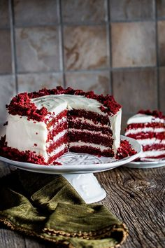 Red Velvet Cake with Cream Cheese Frosting -this supermoist and tender red velvet cake makes for a divine and dramatic cake topped with an easy cream cheese frosting.