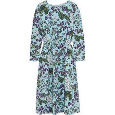 J.Crew Juntos printed silk-crepe dress (23.330 RUB) ❤ liked on Polyvore featuring dresses, blue, blue keyhole dress, blue flower dress, blossom dress, flower dress and j crew dresses