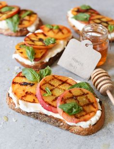 Grilled Peach Tartines with Burrata, Basil, and Honey