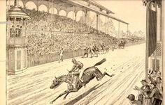 On May 17, 1875, the horse, Aristides, and his rider, Oliver Lewis, crossed the finish line ahead of the rest of the field at the first ever Kentucky Derby. The horse's owner, H.P. McGrath, and a roaring crowd in the stands looked on. Aristides a Thoroughbred named after an ancient Greek general won the first Derby.