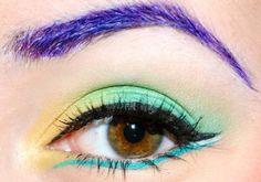 purple brows, green, blue and yellow eye make up #eyes #makeup #eyeshadow by Diva Deb