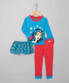 Blue & Red Wonder Woman Tutu Pajama Set