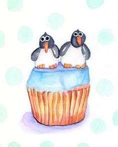 Children's Wall Art Watercolor Painting - Kids Art - Penguin Illustration Art, Cupcake Watercolor Art Print, 8x10