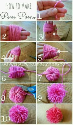 Learn how to make pom poms from yarn. You don't need any fancy tools, just some yarn, your fingers and some scissors. pom Craft How to Make Pom Poms from Yarn Kids Crafts, Diy And Crafts, Arts And Crafts, Easy Yarn Crafts, Kids Diy, Diy Crafts For Your Room, Baby Crafts To Make, Diy Crafts For Bedroom, Bunny Crafts