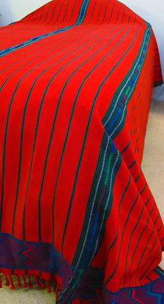 Red Handmade, Fair Trade Zacualpa Bedspread Set from Guatemala. Available in King or Queen size.