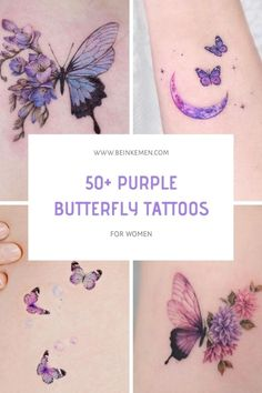 Realistic Butterfly Tattoo, Monarch Butterfly Tattoo, Butterfly With Flowers Tattoo, Butterfly Tattoos For Women, Simple Butterfly, Hand Tattoos For Guys, Butterfly Tattoo Designs, Violet Tattoo, Purple Tattoos