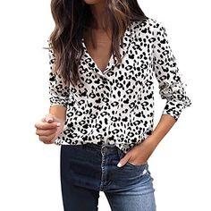 cb6bcb6cf092 Femmes Manches Longues T-Shirt Womens Automne Hiver Femme léopard imprimé à Manches  Longues Chemise boutonnée Haut Chemisier (M Blanc)
