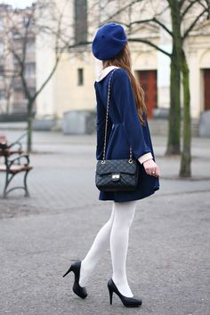 White opaques with lovely blue dress and beret Colored Tights Outfit, White Tights, Fashion Tights, Fashion Outfits, Wool Tights, Socks And Heels, Sweet Dress, Tight Leggings, Preppy Style