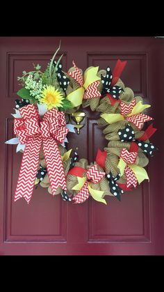 Mesh Wreath, Red Chevron, Yellow & Black