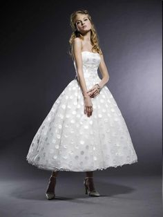 there are days i wish i was brave enough to have done a tea length polka dotted wedding dress