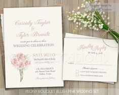 Printable Floral Wedding Invitation Set Boho by NotedOccasions. Rustic wedding invitations suite and rsvp card featuring blush pink peonies, roses and Ranunculus designed the watercolor boho wedding in mind. Elegant Wedding, Boho Wedding, Rustic Wedding, Summer Wedding Invitations, Floral Wedding Invitations, Diy Wedding Video, Blush Pink Weddings, Celebrity Weddings, Wedding Designs