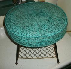 1950s Turquoise Atomic Footstool