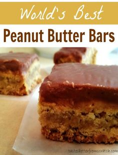 Peanut Butter Bars! - thick, soft and chewy with a PB and Chocolate glaze. Recipe from| TastesBetterFromScratch.com #bars #peanutbutterbars #desserts