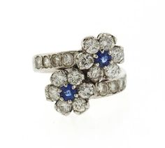 14k Gold Diamond Sapphire Flower Bypass Ring Featured in our upcoming auction on September 13!
