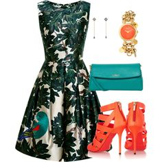 A fashion look from October 2014 featuring Oscar de la Renta dresses, Jimmy Choo sandals and Fendi shoulder bags. Browse and shop related looks.