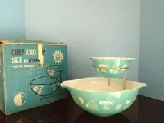 Vintage Aqua Pyrex Chip and DIP in Box Celestial Hot Air Balloon Sun Moon 395M | eBay