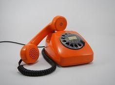 Vintage rotary orange telephone,rotary telephone,  desk phone, Vintage telephone , 70's telephone, Fully functional Telephone