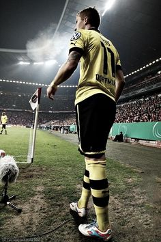 Marco Reus of Borussia Dortmund walking on to the pitch at Allianz Arena to take on Bayern Munich.