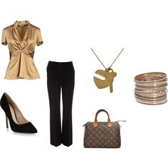 golds and black by elizabeth-mauch-bergeron on Polyvore