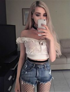 White off the shoulder crop top with denim shorts & fishnet tights by b4by.jpg