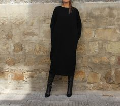 FALL WINTER Midi Black Elegant Dress/ oversized dress /Maxi Plus Size Oversized Long Party Caftan Dress