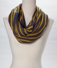 Navy & Gold Jolt of Stripe Infinity Scarf | Daily deals for moms, babies and kids