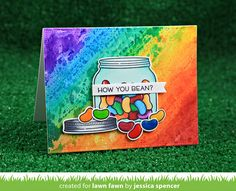 Lawn Fawn  - How You Bean?, Everyday Sentiment Banners, Dotted Rectangle Stackables, Jet Black ink (Copic-friendly) card by Jessica for Lawn Fawn
