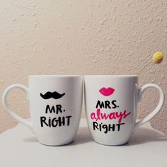 Mr. Right and Mrs. Always Right Mugs  8 oz white by GoldTinselShop