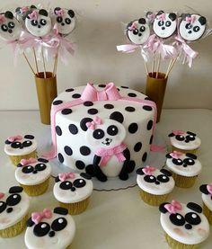 Panda Party Favors, Panda Themed Party, Panda Birthday Party, Fiesta Theme Party, 1st Birthday Cakes, Baby Birthday, Cumpleaños Lady Bug, Bolo Panda, Panda Cupcakes