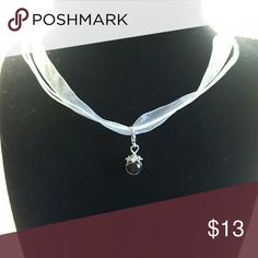 Choker/ Necklace White Ribbon and wax cord 17 in with 2 in extender necklace with black pearl charm Jewelry Necklaces