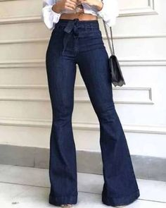 Tall Wide Leg Trousers, Slim Fit Trousers, Trousers Women, Wide Legs, Jeans Women, Look Fashion, Fashion Outfits, Latest Fashion, Fashion Today