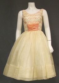 Cream Organdy 1950's Party Dress w/ Pink Embroidery