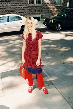 Alexa Reynen in a vintage dress, Gucci wool and silk pants, Sylvie tophandle bag, and exotic Princetown slippers.
