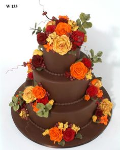 Brown wedding cake, perfect for the fall by the Cake Boss himself, using Satin Ice fondant! Floral Wedding Cakes, Fall Wedding Cakes, Wedding Cake Designs, Wedding Ideas, Autumn Wedding, Pretty Cakes, Beautiful Cakes, Amazing Cakes, Pear And Almond Cake