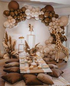 Baby Shower Parties, Baby Shower Themes, Baby Boy Shower, Gender Neutral Baby Shower, Birthday Balloon Decorations, Birthday Party Themes, Diy Baby Shower Decorations, Table Decorations, Safari Theme Party