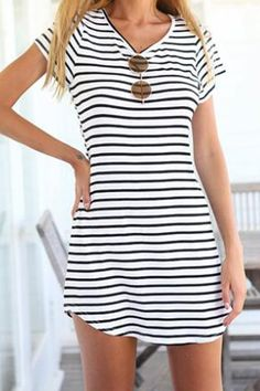 Casual Short Sleeve Scoop Neck Striped Dress For Women
