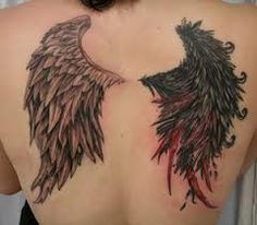 angel wing tattoos - Idea for my leg tattoo coverup since I have two sides being a gemini and all