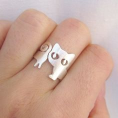 Little Cat Ring (Kitten) Silver Ring - handmade sterling silver ring via Smilingsilversmith