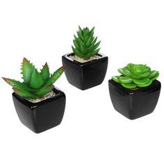 Set of 3 Modern Square Black Ceramic Artificial Succulent Planter / Mini Faux Potted Plants - MyGift®