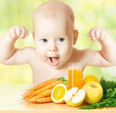 Baby fresh fruit meal and juice glass