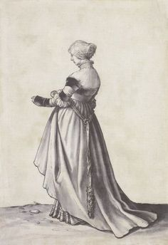 Basel Woman Turned to the Left Costume Study by Hans Holbein the Younger 1520