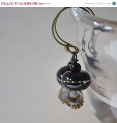 SALE Black Dew Drop Earrings  Lampwork Glass Dangle by bstrung, $29.75