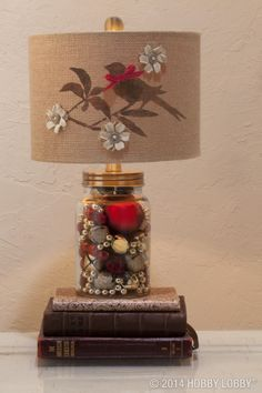 Dress up a simple lampshade with stenciled-on designs and paper embellishments for boutique style on a budget.