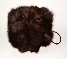 real fur mink hand muff down filled bracelet vintage 1960 original dk brown