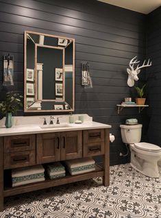 rustic modern lake house bathroom with black shiplap Bathroom Studio Steidley Rustic Vanity, Rustic Bathroom Vanities, Modern Farmhouse Bathroom, Rustic Bathrooms, Bathroom Interior, Rustic Farmhouse, Industrial Bathroom, Dream Bathrooms, Rustic Cabin Bathroom