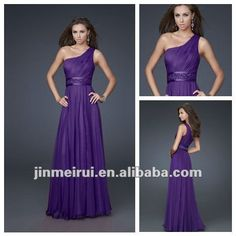 Charming One Shoulder Royal Purple Country Style Bridesmaid Dress