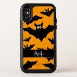 Cool Flying bats Halloween Black orange Monogram OtterBox Symmetry iPhone X Case #halloween #happyhalloween #halloweenparty #halloweenmakeup #halloweencostume