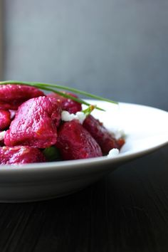 Beet Gnocchi Recipe - She Eats  You are going. to. die.  Okay... you probably won't die. But you will feel your heart flutter! Both for the beautiful red (real food valentines day meal!!) pillows of potato goodness and for the pillows of potato goodness. Yup. Needed to be said twice.  I give you: Scratch Garden Beet Gnocchi Recipe & Creamy Soft Chevre. You. Want. This. Seasonal. Soft. Amazing.  Recipe on the blog ---> http://sheeats.ca/2014/02/garden-beet-gnocchi/