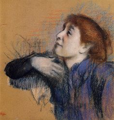 Bust of a Woman - Edgar Degas Start Date: Completion Style: Impressionism Genre: sketch and study Technique: pastel Gallery: Private Collection Edgar Degas, Degas Drawings, Degas Paintings, Renoir, Kunst Online, Art Ancien, Pastel Portraits, Edouard Manet, Rembrandt